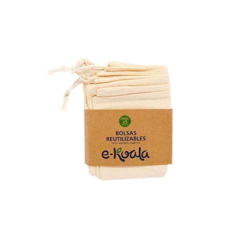 Pack 5 bolsas reutilizables de algodón orgánico - Ekoala
