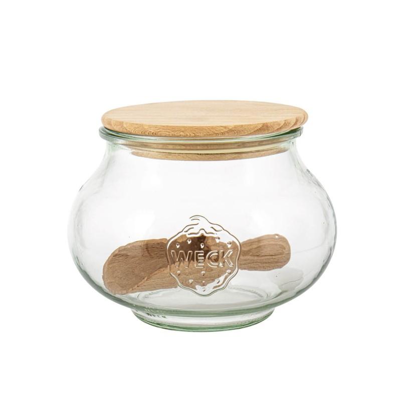 Tarro de vidrio Deco con tapa de madera para conserva Weck - 1,06 l