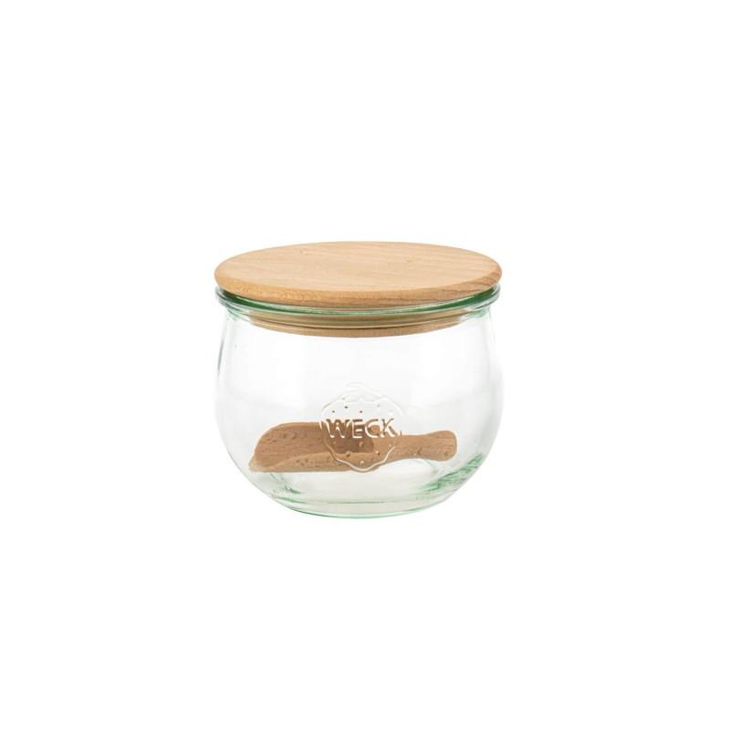Tarro de vidrio Tulip con tapa de madera para conserva Weck - 580 ml