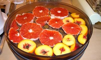 Deshidratar pomelos y melocotones en Dorrex en bandeja metal