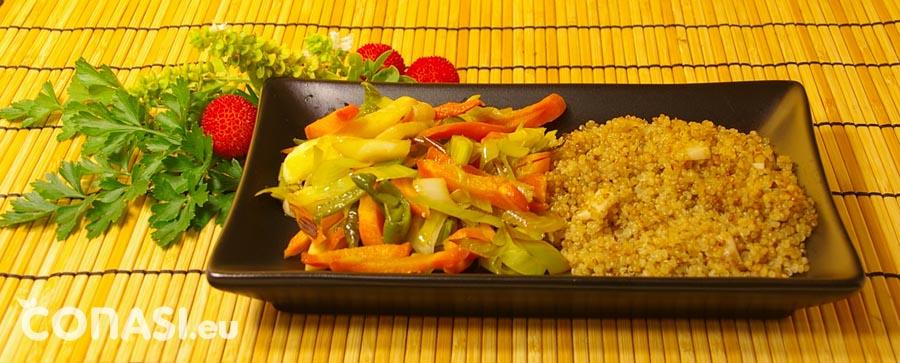 Quinoa como acompañamiento de las verduras al wok
