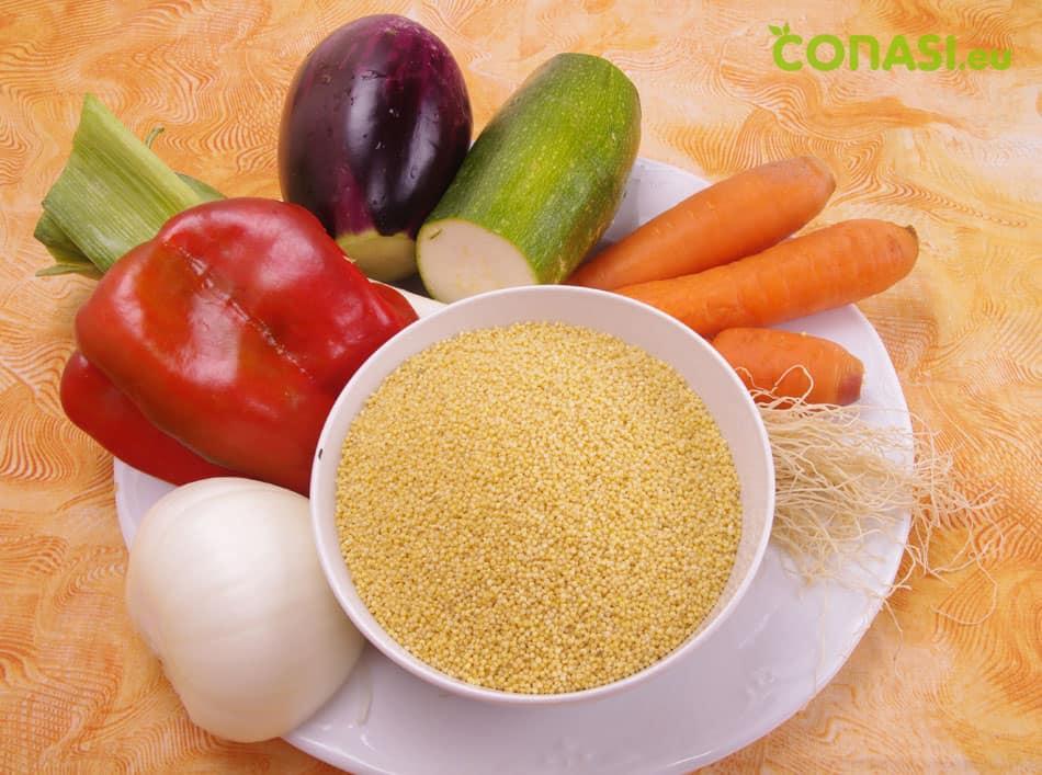 Verduras utilizadas en la receta y el mijo dulce