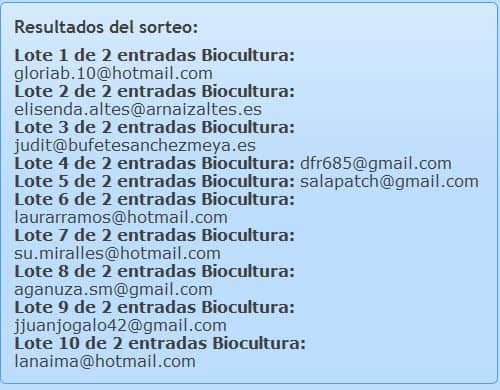 Ganadores del sorteo 20 entradas para Biocultura Barcelona