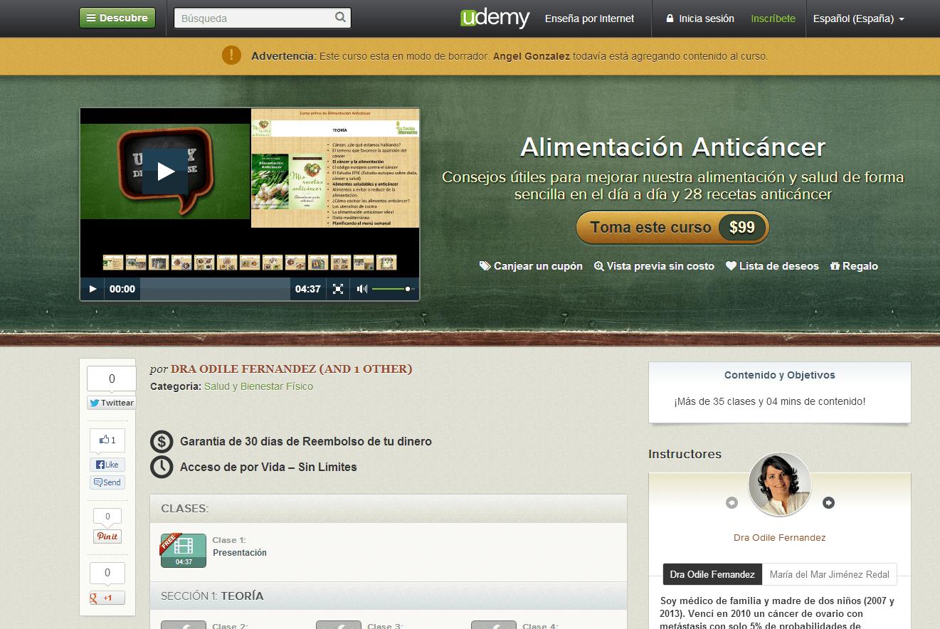 Ver vídeo del curso online Alimentación Anticáncer