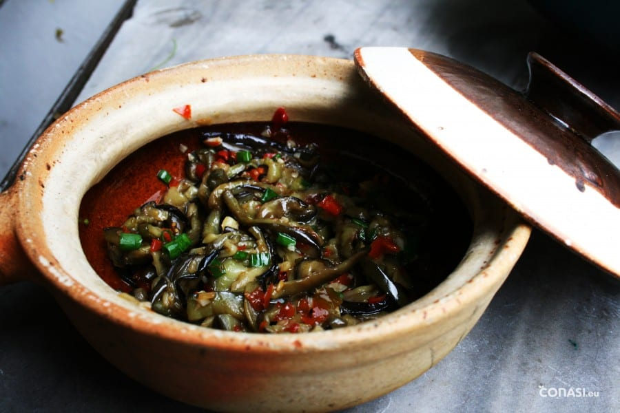 Berenjenas al aroma de pescado