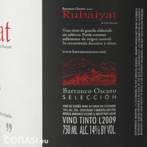 Etiquetado del vino natural Barranco Oscuro, no contiene sulfitos