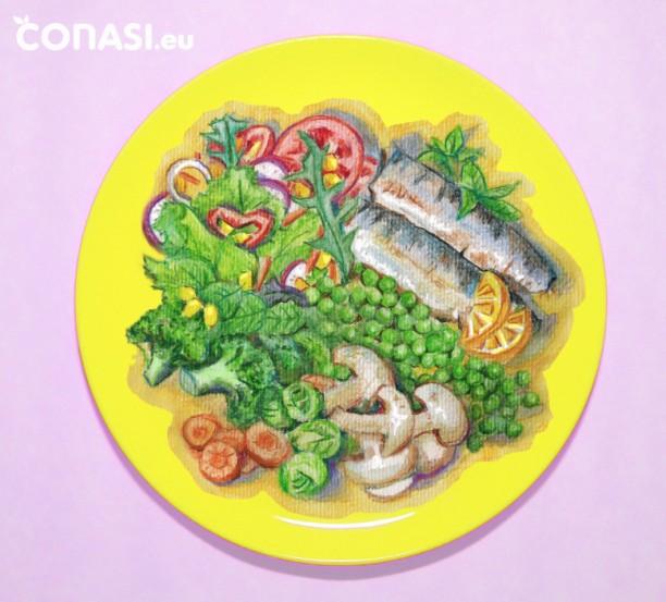 Filete de pescado con verduras frescas, variadas y coloridas