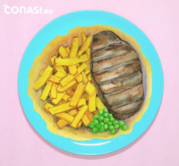 Filete de carne con muchas patatas fritas y unos guisantes no es un plato saludable
