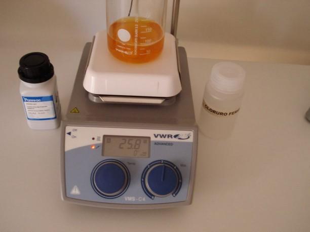 Disolución patrón de cloruro férrico para las pruebas posteriores.