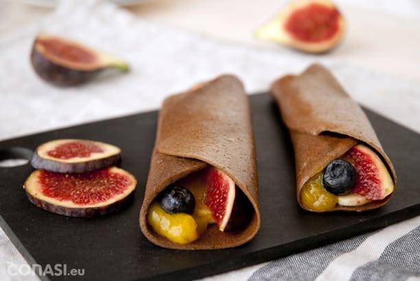 Crepês sin harina, azúcar, huevos ni leche con frutas