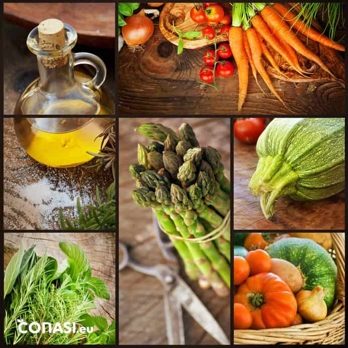 Selección de alimentos anticáncer: AOVE, verduras como el calabacín, los espárragos, las zanahorias...