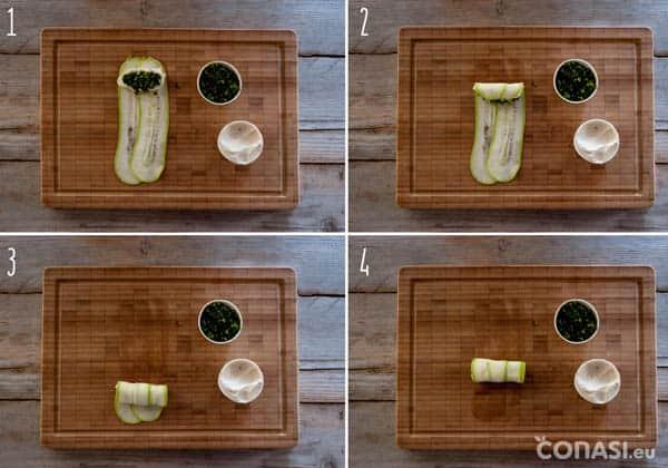 Montaje de los canelonis raw de calabacín con pesto