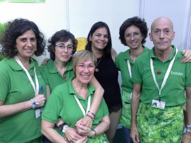 Odile Fernández con Mónica, Clara, Mª Teresa, Marta y Rafa