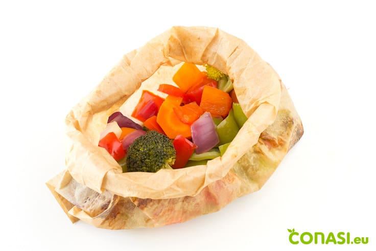 Papillote hecho con bolsas de papel sin tóxicos