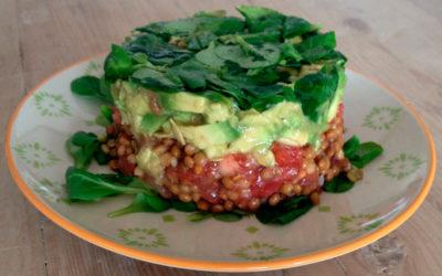 Tartar vegetariano de lentejas y aguacate
