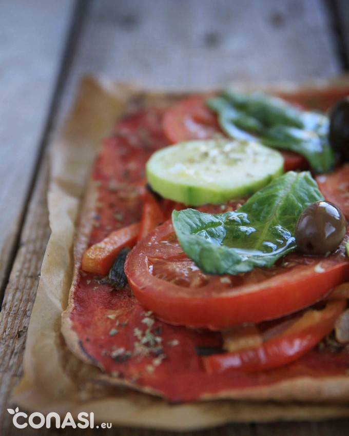 Pizza vegetal de quinoa