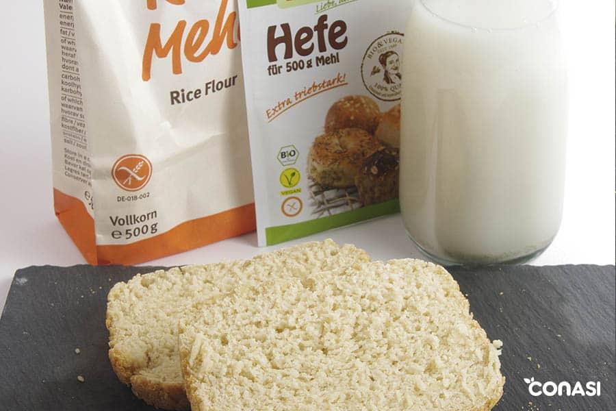 pan hecho con harina de arroz