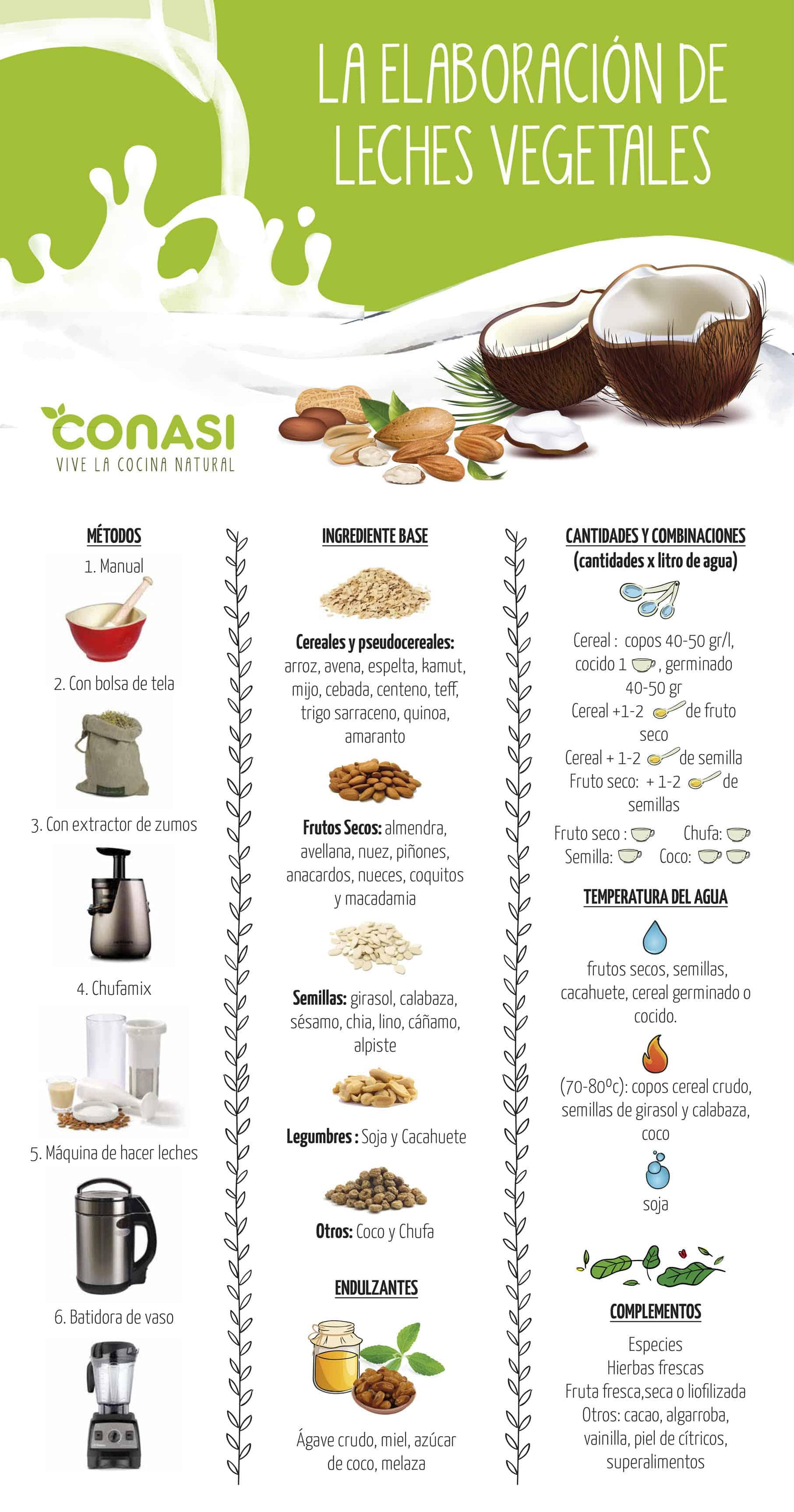 Diferentes tipos de leches vegetales.