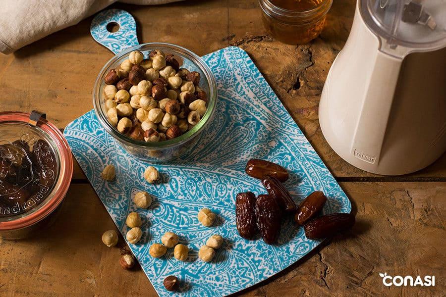Ingredientes para los bombones veganos ferrero
