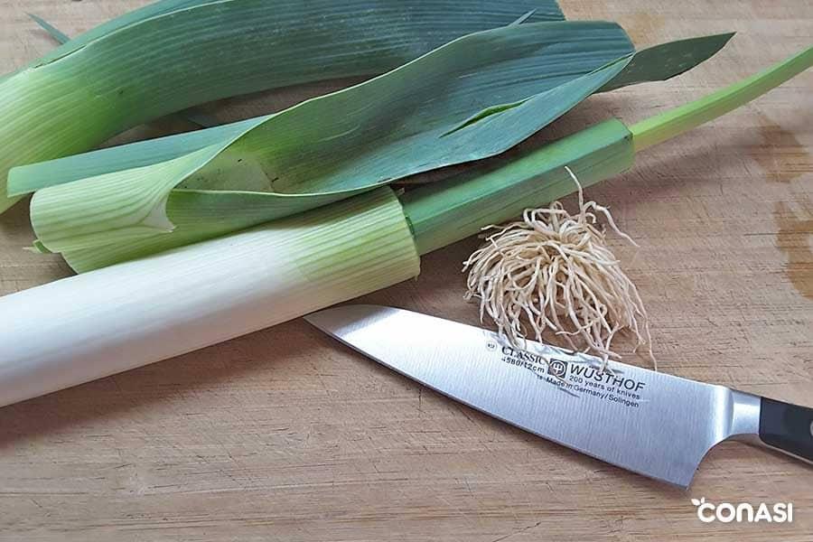 Aprovechar las verduras: raíz y parte verde del puerro