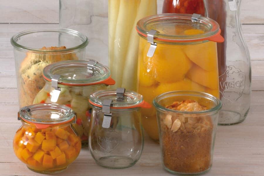 Tarros Weck con comida en su interior - Conservas al Baño María