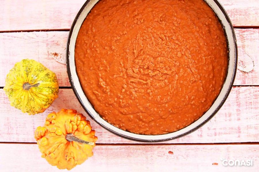 Elaboración de la tarta de calabaza - Postres con frutas y verduras
