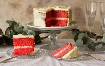Tarta Red Velvet vegana para San valentín