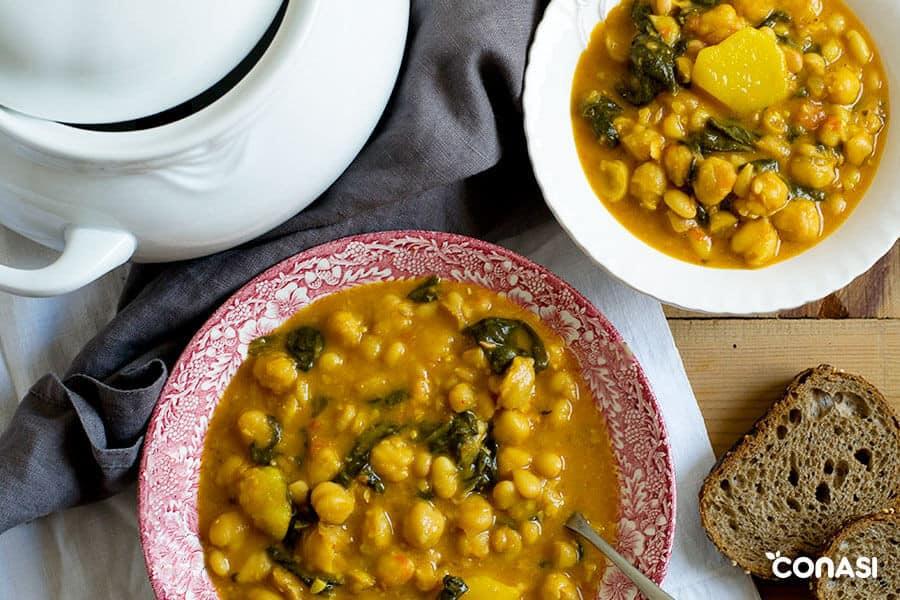 Potaje de legumbres - Alimentos crudos y cocinados