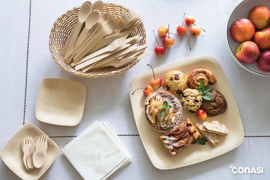 Platos y cubiertos de bambú - Cocina sin plásticos