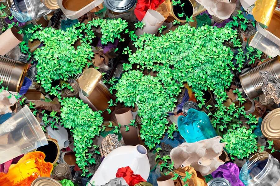 Diferentes envases sobre un plantas verdes que imitan al planeta tierra - Plásticos reciclables