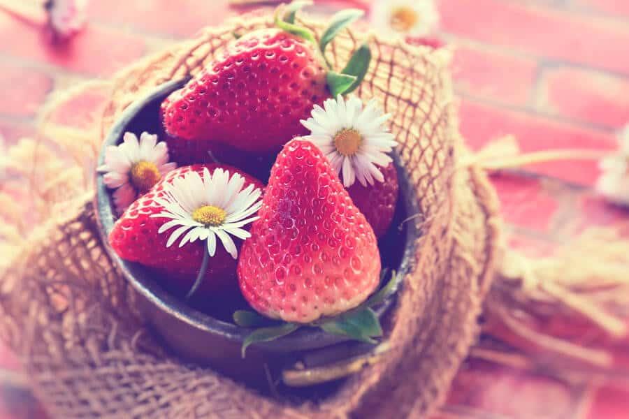 Fresas y margaritas en un cuenco - Alimentación de primavera