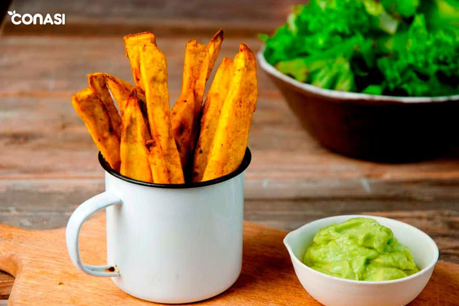 Patatas de boniato con guacamole - cómo cocinar las hortalizas