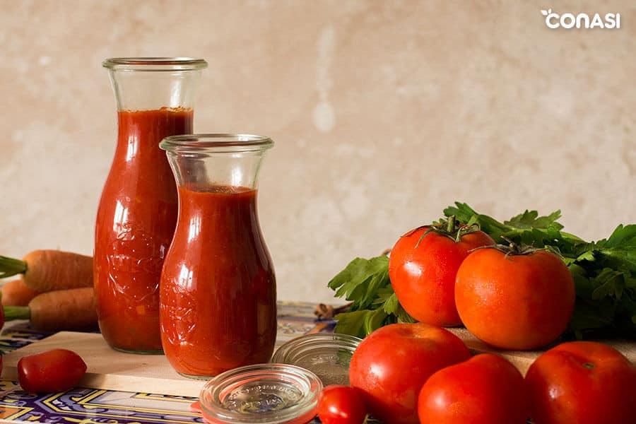 salsa de tomate en tarros weck - cómo cocinar hortalizas