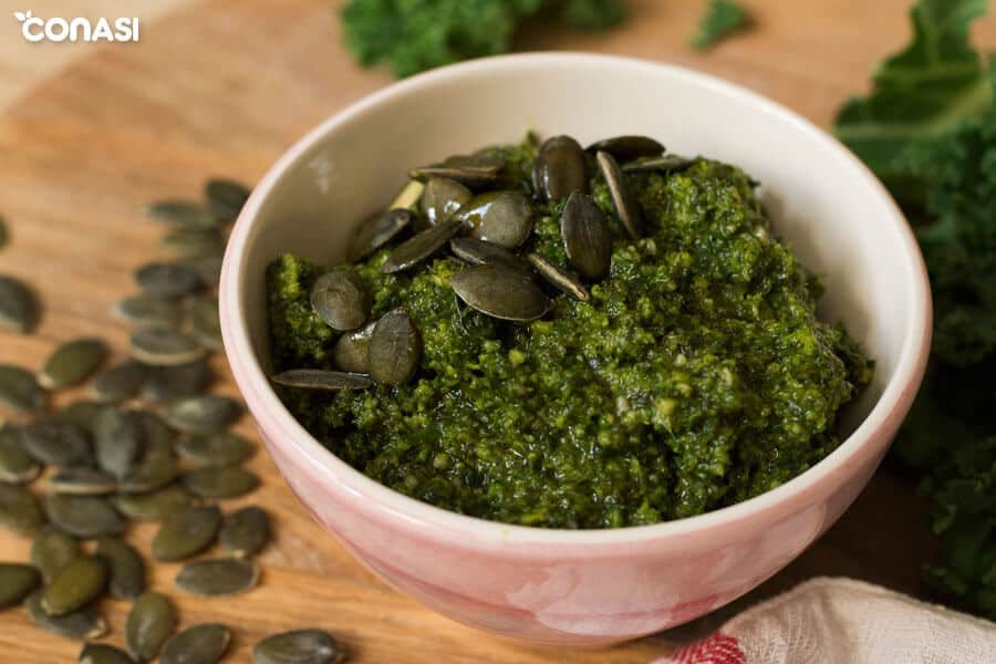 Pesto de kale y semillas de calabaza