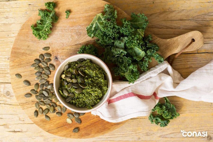 Pesto de kale y semillas de calabaza - Proteínas vegetales