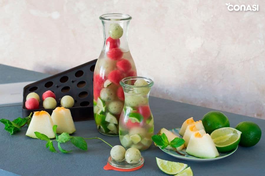 Agua de jengibre con sandía y melón