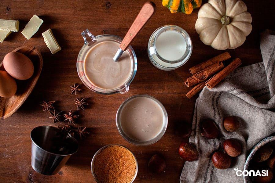 Todos los ingredientes necesarios para hacer el flan de castaña