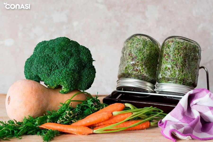 Ingredientes del salteado corto de verduras