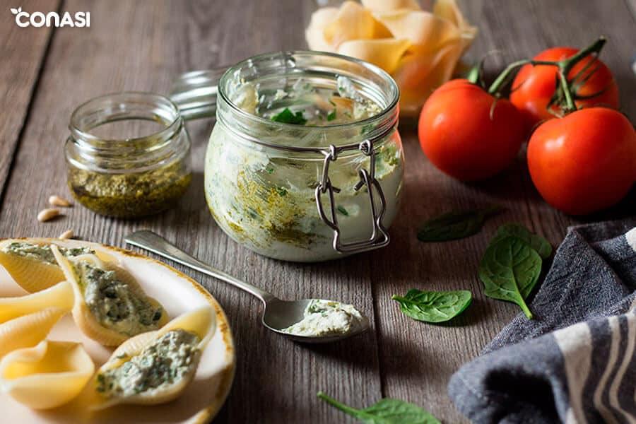 Ingredientes del relleno de las conchas de pasta