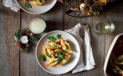 Conchas de pasta rellenas de ricotta y pesto - Menú navideño italiano