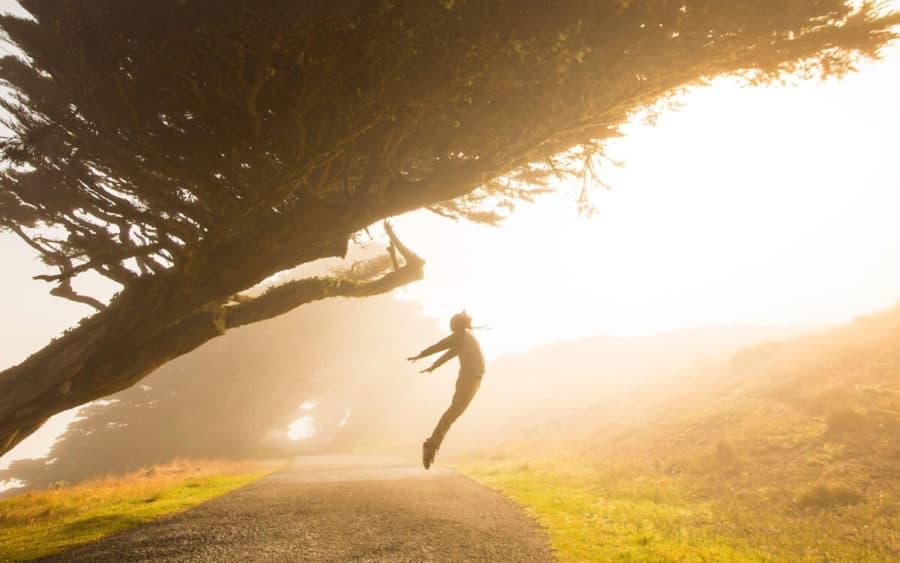 Persona saltando debajo de un árbol - Propósitos sostenibles 2020