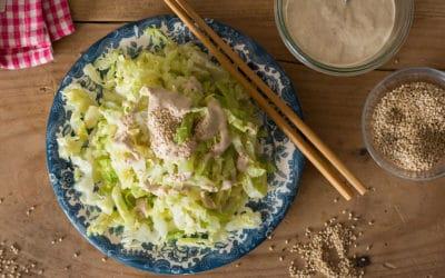 receta col aliñada con salsa de sésamo