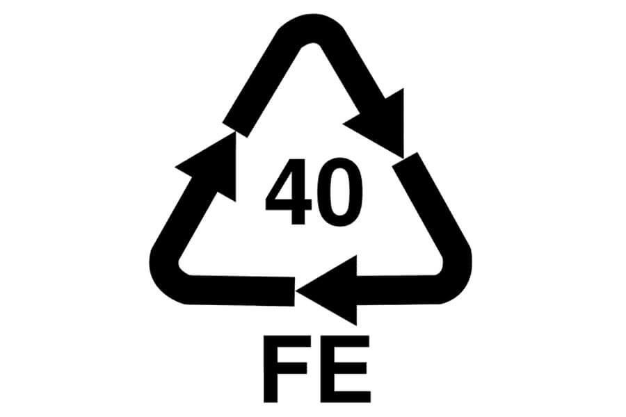 Símbolo del reciclaje del acero y aleaciones de hierro