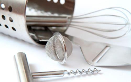 Acero inoxidable en utensilios de cocina