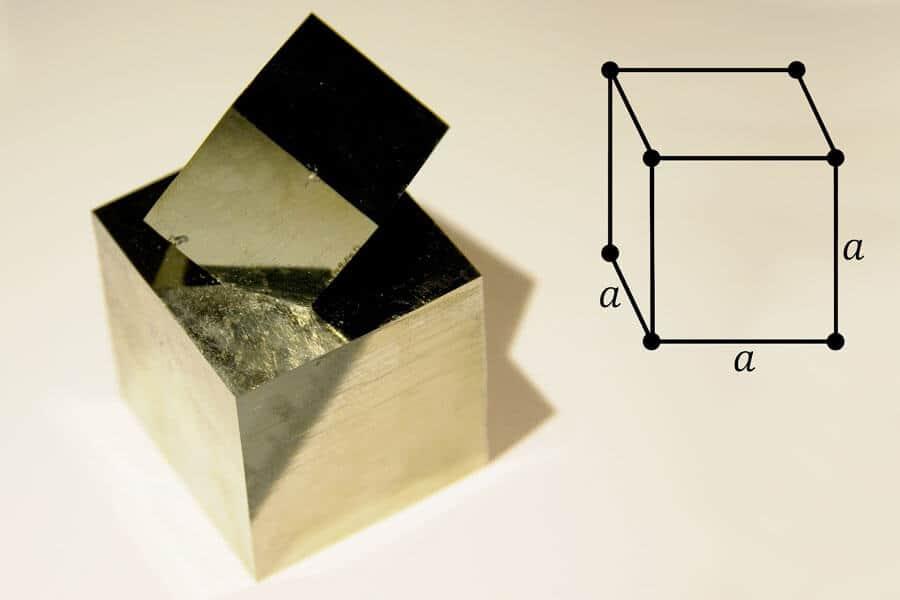 Pirita en cubo - Diferencia entre vidrio y cristal