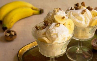 Helado de plátano y nueces, al método tradicional