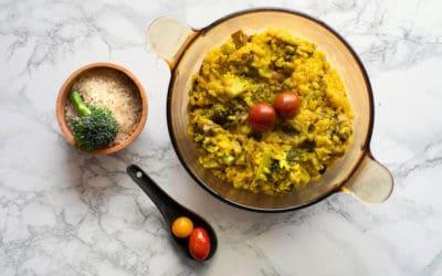 Risotto vegano de brócoli y champiñones