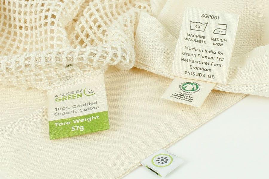 Etiquetas de bolsas de algodón orgánico certificado - Tejidos ecológicos