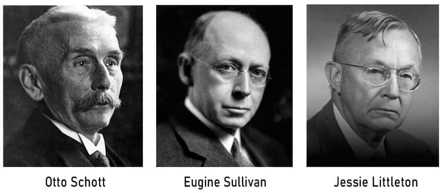 Otto Schott, Eugine Sullivan y Jessie Littleton, los padres del borosilicato