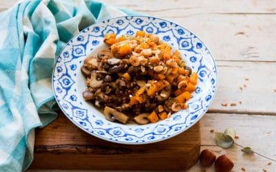 Receta de risotto de trigo con setas